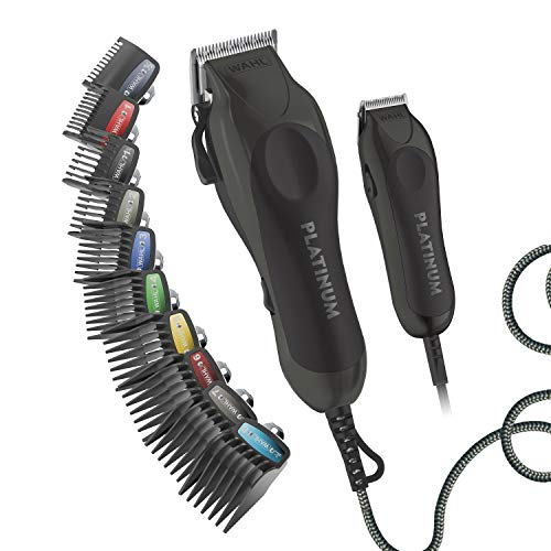 WAHL, Clipper Pro Series Platinum Haircutting Combo Kit with Barbers Shears Model 79804100, Black