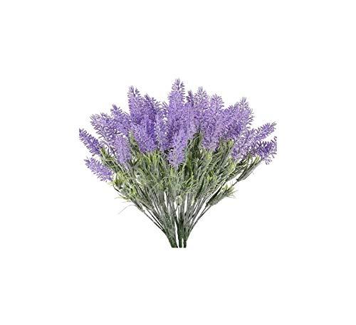 Luckylele Flores de Lavanda Artificial Púrpura Fake Lavender Plantas Faux Plastic Flowers Plantas Boda Brida Bouquet Interior al Aire Libre DIY Jardín Hogar Grave Decor Decoración hogareña