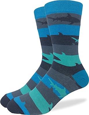 Good Luck Sock Men's Shark Crew Socks,Large (Shoe size 7-12),Blue