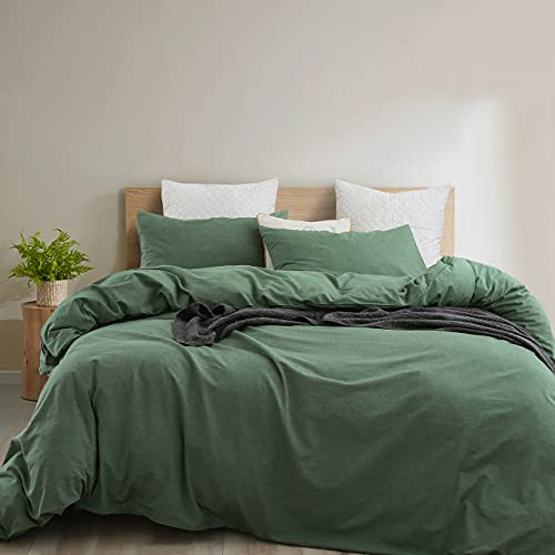 Ventidora 100% Washed Cotton Sheet 4 Piece Bedding Set Green King Size,Ultra Soft Breathable 100%...