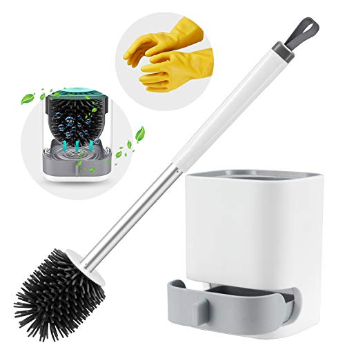 Boperzi Toilet Brush and Holder Set, WC Toilet Bowl TPR Silicone Brush Head Cleaner Wall Mounted with Gloves for Bathroom Toilet Storage Household
