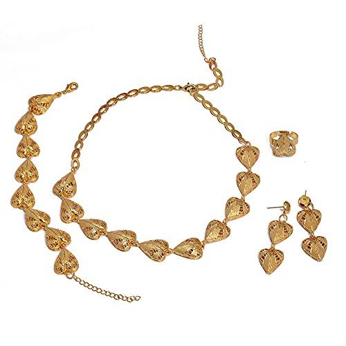 VAWAA Conjunto de Joyas de Dubai, Conjunto de Joyas de Oro de 24 k para Mujeres, Regalos de Boda Nupciales africanos, Collar de Fiesta, Pendientes de corazón, Anillo, Pulsera
