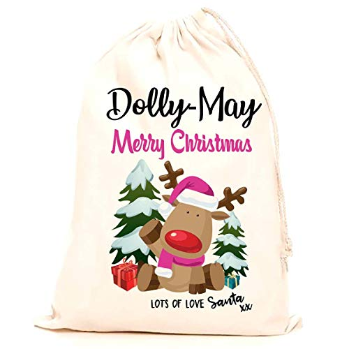 Treat Me Suite Dolly-May personalised name Christmas santa sack, stocking printed with a blue reindeer (75x50cm) 100% Cotton Large. Children, Kids, making it the perfect keepsake xmas gift/present.