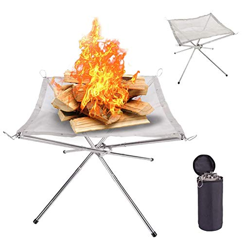 Hantehon Portable Camping Fire Pit, 16.5 inch Stainless Steel Mesh Fireplace Foldable Outdoor Fire Pit for Patio, Camping, Backyard and Garden