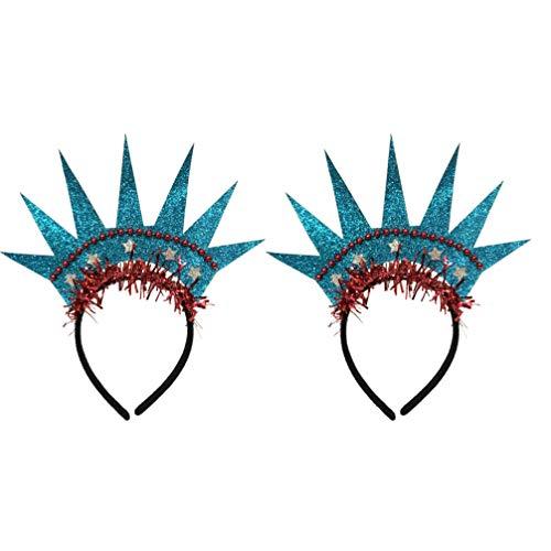 Amosfun 2 Stücke Stirnband Krone Freiheitsstatue Haarbänder Headwear Kopfbedeckung Kostüm Zubehör für Amerikanische Unabhängigkeitstag Halloween Weihnachtsfeier Geburtstag Cosplay
