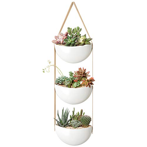 Mkono Ceramic Wall Planter 3 Tier Hanging Succulent Herb Planter for Indoor Plants, 7 Inch Half Moon Flower Pot with Leather Strap Modern Vertical Garden for Air Plants Live or Faux Plants Home Decor