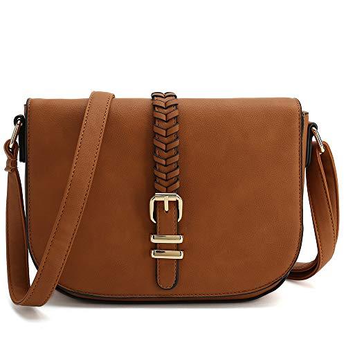 Casual Small Crossbody Saddle Bags for Women Shoulder Purse Designer Handbags (Brown)
