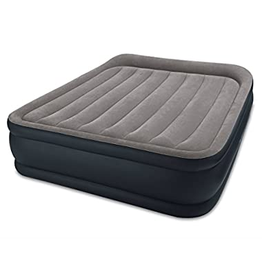 Intex Dura-Beam Standard Series Deluxe Pillow Rest Raised Airbed w/Soft Flocked Top Comfort, Built-in Pillow & Electric Pump, Bed Height 16.5 , Queen