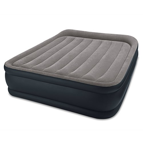 Intex Dura-Beam Standard Series Deluxe Pillow Rest Raised Airbed w/ Soft Flocked Top for Comfort, Built-in Pillow & Electric Pump, Bed Height 16.5', Queen