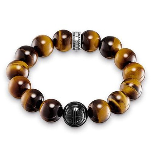 Thomas Sabo Herren-Armband Power Bracelet Braun Rebel at Heart 925 Sterling Silber 18 cm A1574-806-2-L18