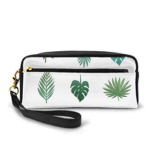 Pencil Case Pen Bag Pouch Stationary,Tropical Paradise Island Nature Theme Hand Drawn Design with Palm Tree Foliage,Small Makeup Bag Coin Purse