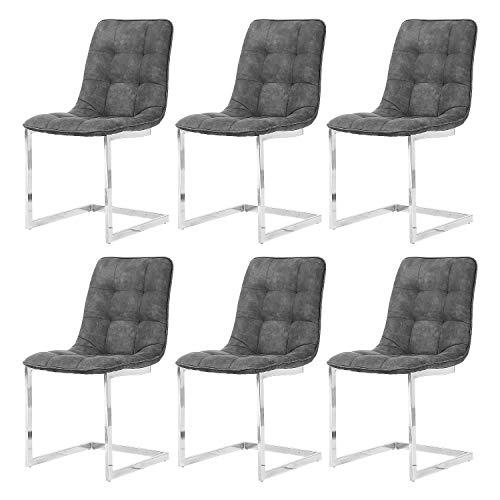 Enjowarm Esszimmerstühle Moderne Küche Esszimmerstühle Set 2 Stück Micor-Suede Stoff weich gepolsterte Sitzfläche Chrombeine Wohnzimmermöbel Schiefergrau