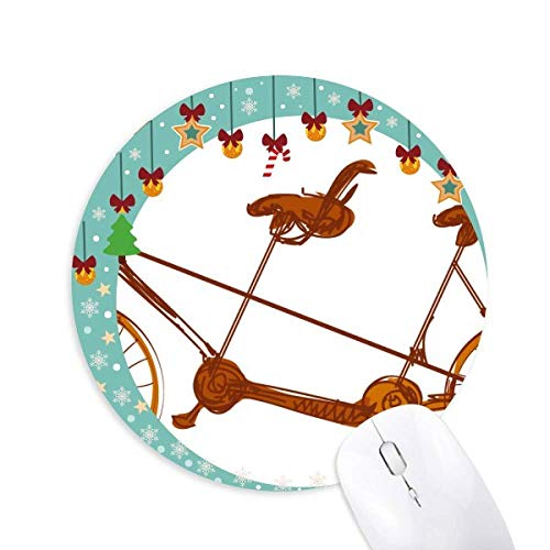 Cartoon Dreisitzer Fahrrad Großbritannien Kultur Maus Pad Jingling Bell Round Rubber Mat