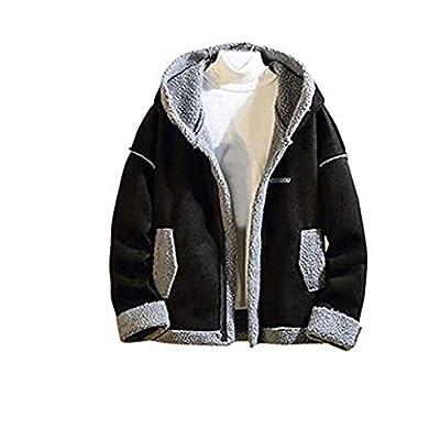 Landscap Men's Jacket Hoodie Fleece Full Zip Soft Jacket Sherpa Lined Jacket Multi-Pocket Winter Warm Classic Fit Jacket(Black,XXXXL)