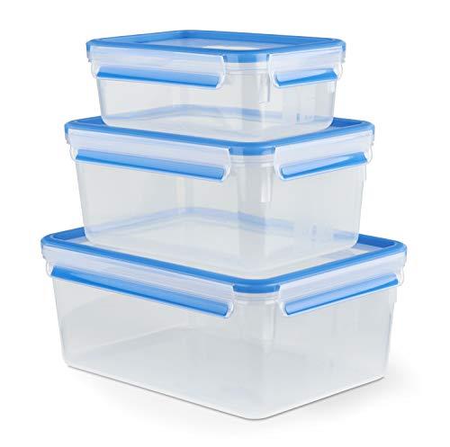 Emsa 508567 Clip & Close Frischhaltedosen   3-teiliges Set   1,00+ 2,30+ 3,70 L   -40 bis +100 Grad   Kunststoff   100 % Dicht   Besondere Frische-Dichtung