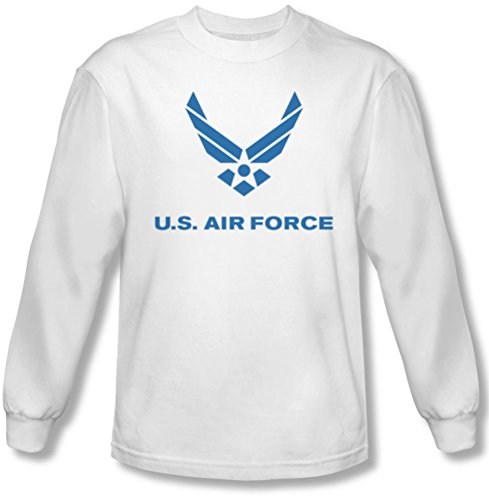 Air Force - - Distressed Logo T-shirt à manches longues pour hommes, Large, White