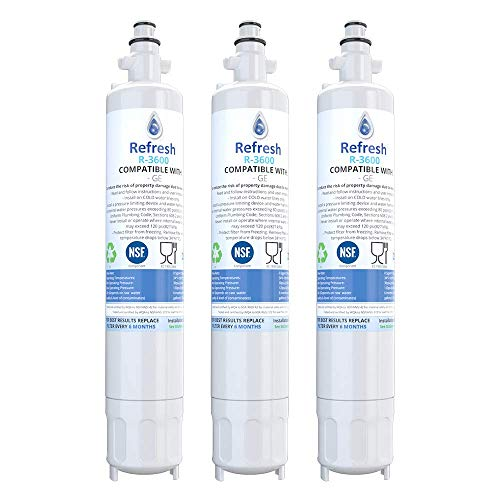 Refresh Replacement Refrigerator Water Filter Compatible With GE RPWF, R-3600 and FILTER models RWF1063, RWF3600A, RPWF, WSG-4 (does NOT fit RPWFE) - 3 pack