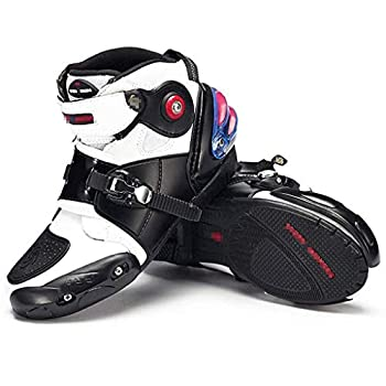 Sooiy Bottes Moto Hommes Racing Bottes Armored Lourd sur Route Motocross Doux, Bottes Courtes Bottes d'équitation,Blanc,43