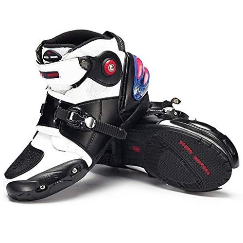 Sooiy Motocicleta Que compite con los Cargadores de los Hombres Botas blindadas de Alta Resistencia en Carretera Motocross Suave, Botas Cortas Botas de Montar,Blanco,44
