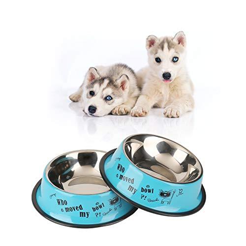WBYJ Hundenapf, 2 Stück Edelstahl Hundenapf   rutschfest   Melamin-Napf für kleine & große Hunde   Futter- und Trinknapf für Hunde und Katzen (M 18cm)