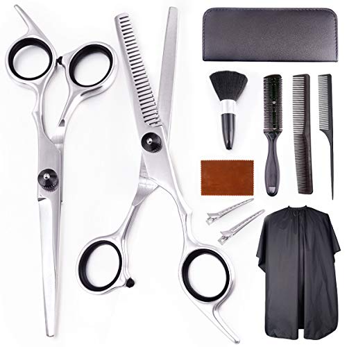 EZIGO Professional Hair Cutting Scissors Set 11 PCS Hair Cutting Scissors Thinning Shears Multi-Use Haircut Kit Scissors Hair Cutting Shears Set For Barber Salon Home Hair Cutting Scissors