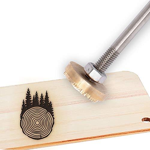 OLYCRAFT Logo Personalizzato in Ferro con Logo Personalizzato in Ferro 3cm Timbro in Ferro con Marchio in Pelle Timbro A Caldo per Barbecue con Manico