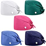 5 Pieces Unisex Cap Gourd-Shaped Working Hat with Button Sweatband Tie Back Bouffant Hat (White, Rose Red, Blue, Navy Blue, Dark Green)