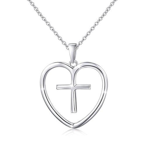 """Ladytree Sterling Silver Cross Love Heart Pendant Necklace Women Prayer Christian Jewelry,18"""""""