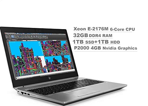 "2020 HP ZBook 15 G5 15.6"" FHD (1920x1080) Mobile Workstation Laptop (Intel 6-Core Xeon E-2176M, 32GB DDR4 RAM, 1TB PCIe SSD+1TB HDD, Quadro P2000) 2 x Thunderbolt 3, HDMI 2.0, Windows 10 Pro"
