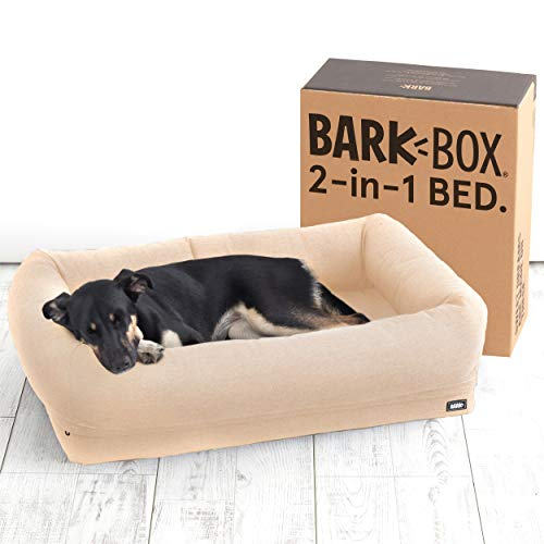 Barkbox 2-in-1 Memory Foam Dog Bolster Bed | High Density 3'' Base Orthopedic Joint Relief Crate...