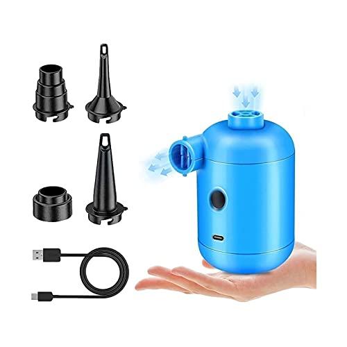 Yokbeer Bomba Eléctrica, Bomba de Aire Eléctrica, 4 Boquillas para Colchón Inflable, Camping, Almohada Inflable, Cama de Natación, Barcos
