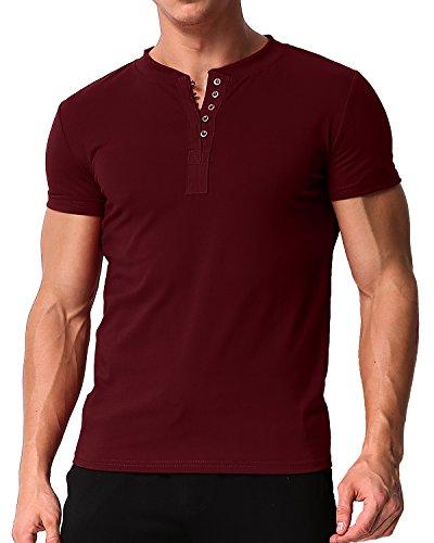 MODCHOK Hombre Camiseta Manga Corta T-Shirt Cuello V Básico