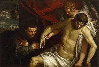 O Cristo Morto Apoiado por um Anjo e Adorado por um Franciscano 1586 Pintura de Paolo Veronese na Tela em Vários Tamanhos (55 cm X 37 cm tamanho da imagem)