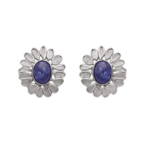 Pendientes de botón florales de diamantes Polki sin cortar de 2.50 CTW con tanzanita azul natural - Plata de ley 925 - Pendiente de botón de racimo impresionante
