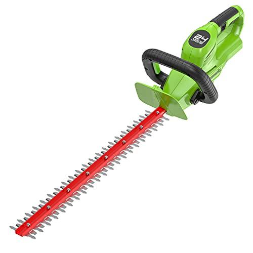 Greenworks Cortasetos inalámbrico G24HT56, Li-Ion 24V 56cm longitud de la espada 18 mm espesor de corte 3000 cortes/min mango adicional ajustable, no incluye batería ni cargador