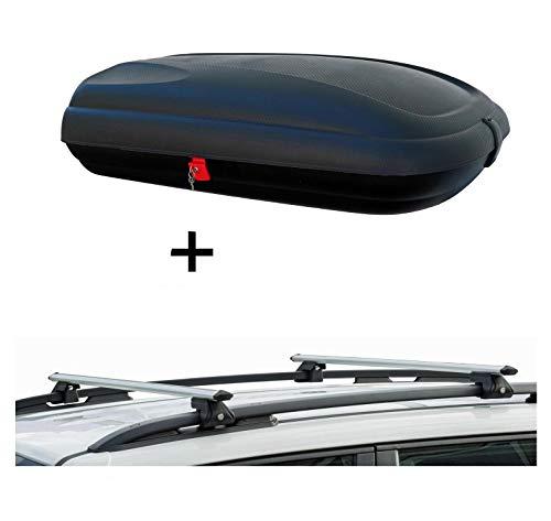 VDP Dachbox BA320 carbonlook + Relingträger CRV120 kompatibel mit Opel Omega B Kombi 94-06