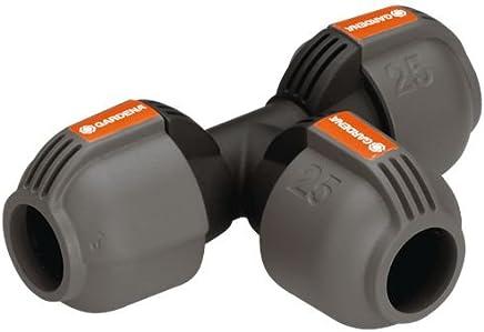 GARDENA Sprinklersystem T-Stück: Rohrverbinder für Rohrabzweigung des Verlegerohrs, 25 mm, Quick&Easy Verbindungstechnik, kompatibel mit GARDENA Verlegerohre 25 mm, werkzeuglose Montage (2771-20)