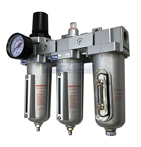 """3 STAGE, HEAVY DUTY INDUSTRIAL GRADE FILTER REGULATOR COALESCING DESICCANT DRYER SYSTEM FOR COMPRESSED AIR LINES, METAL BOWLS, GREAT FOR PAINT SPRAY AND PLASMA CUTTER (3/4"""" NPT, MANUAL DRAIN)"""