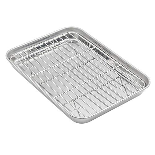 Baking Sheet with Rack Set, Stainless Steel Cookie Sheet and Cooling Rack Baking provides Kitchen equipment Cookie sheet Dish set Baking pan Bakeware units Muffin pan Cake pan Baking pans