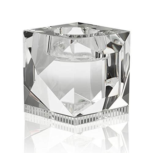 Reflections Copenhagen - Ophelia - Teelichtständer, Kerzenleuchter, Kerzenständer - Kristallglas - Klar - (LxBxH): 9 x 9 x 7,8 cm