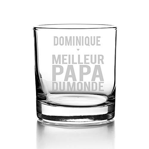 Verre à Whisky Personnalisable - Meilleur Papa du Monde - Cadeau Fête des pères, idée cadeau anniversaire