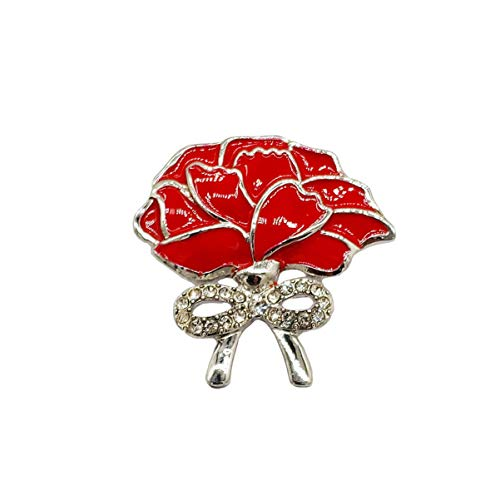Bling Stars Red Poppy Brooch Flower Broach Lapel Pin Diamante Crystal Bowknot Banquet Red Poppy Flower Remembrance Gift