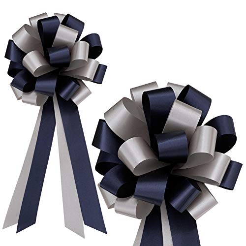 Navy Blue and Silver Decorative Pull Bows - 8' Wide, Set of 6, Christmas, Hanukkah, Wedding Ribbons, Father's Day, School Dance, Boxing Day