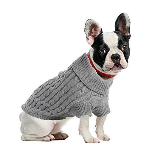 ubest Hundepullover, Hundemantel, Sweater Gestrickter Pullover für Kleine Hunde, Hunde Pullover Katzenpullover für Herbst Winter, Grau, M