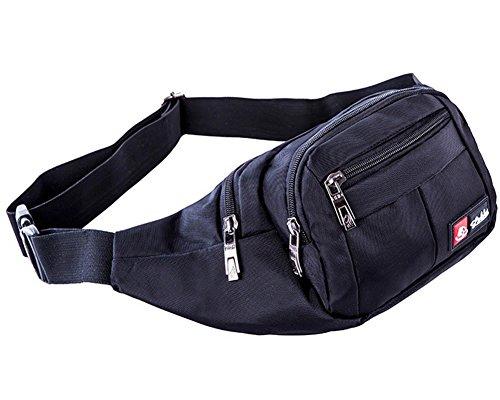 Riñoneras para la Cintura Bolsa Bolso de Cintura Nylon para Cinturón Deportivo Perfecto para Viajar, Comprar, Encalada, Correr, Ciclismo Noir