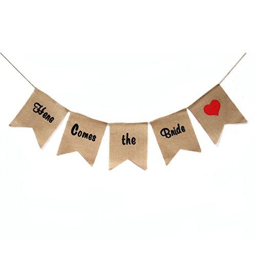 Pixnor 5pcs ici vient la bannière de toile de jute de mariée mariage décoration fête Bunting (brun)