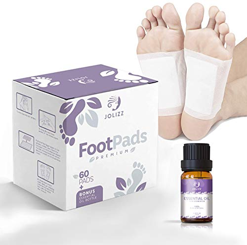 Jolizz Premium Foot Pads (60-Pack) & Bonus Lavender Essential Oil - Sleep Patches for Restful Night and Morning Energy - Easy Peel Overnight Sole Adhesive   Relieve Stress & Improve Sleep