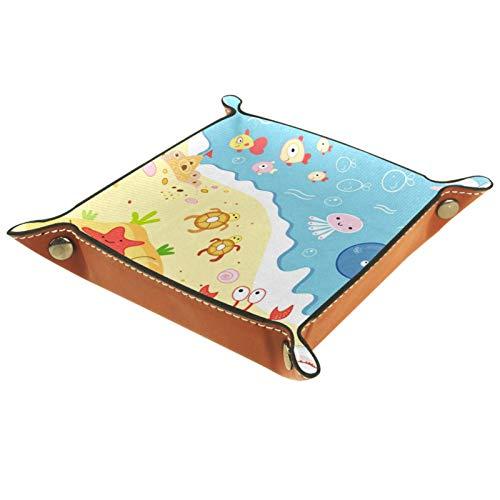 Caja de almacenamiento pequeña, bandeja de valet para hombre,Mundo acuático coral peces animales playa ,Organizador de cuero para llaves de caja de monedas