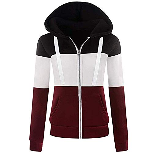 Newbestyle Jacke Damen Sweatjacke Hoodie Sweatshirt Pullover Oberteile Kapuzenpullover V Ausschnitt Patchwork Pulli mit Kordel und Zip (Schwarz-weiß-rot, 2X-Large)