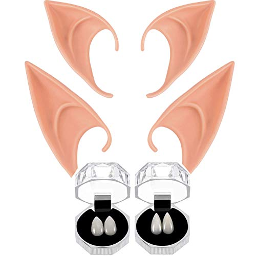 Geek-M Vampire Fangs Teeth+Latex Elf Ears,Fairy Pixie Soft...